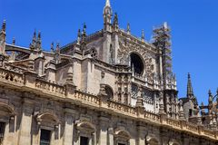 Decorative turrets la Giralda Cathedral in Seville, Spain. The decorative turrets la Giralda Cathedral in Seville, Spain Stock Image