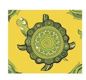 Decorative turtle. On sand. green ornament Stock Illustration