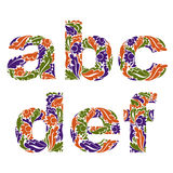 Decorative typescript with natural pattern. Flowery alphabet, ca Royalty Free Stock Photo