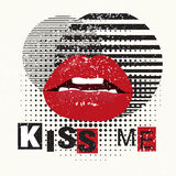 Decorative typography poster Kiss Me. Red lips on a grunge background. Can be printed on T-shirts, bags, posters Royalty Free Stock Photos