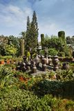 Decorative urns in a park Stock Image