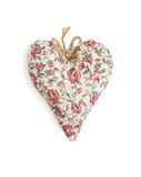 Decorative valentine heart of fabric with flowers pattern Stock Photos