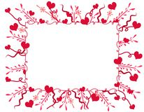 Decorative Valentine Hearts Frame or Border. An decorative valentine hearts frame or border in red and pink with various swirling designs and hearts Royalty Free Stock Photography