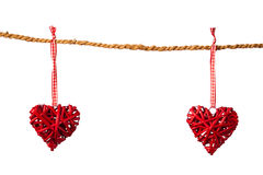 Decorative valentine hearts on the rope Royalty Free Stock Photo