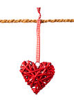 Decorative valentine hearts on the rope Royalty Free Stock Images
