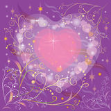 Decorative Valentine's Day card. With hearts and abstract floral patterns on dark purple background Stock Photography