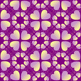 Decorative Valentine's seamless pattern with violet and yellow gradient heart shapes on dark violet background Royalty Free Stock Photo
