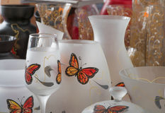 Decorative vase. With painted butterfly Royalty Free Stock Image