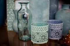 Decorative vases blue home decor. On shelve Stock Image