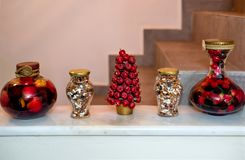 Decorative vases in a row with Spoon sweets - Greek fruit prese stock photography