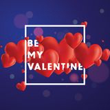 Be My Valentine Vector Background. Decorative vector background with realistic 3D looking hearts created with gradient mesh, Be My Valentine typographic message Stock Image