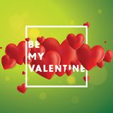 Be My Valentine Vector Background. Decorative vector background with realistic 3D looking hearts created with gradient mesh, Be My Valentine typographic message Royalty Free Stock Photo