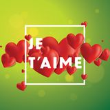 Je T`aime Vector Background. Decorative vector background with realistic 3D looking hearts created with gradient mesh, Je T`aime I love You in French typographic Stock Image