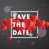 Save the Date Vector Background. Decorative vector background with realistic 3D looking hearts created with gradient mesh, Save the Date typographic message Royalty Free Stock Photo
