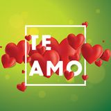 Te Amo Vector Background. Decorative vector background with realistic 3D looking hearts created with gradient mesh, Te Amo I love You in Spanish typographic Stock Photography
