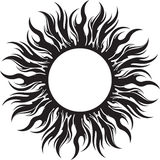 Decorative vector black sun symbol with long rays Stock Images