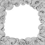 Decorative vector black and white frame with curling lines Stock Images