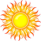 Decorative vector bright colorful sun symbol with long rays Stock Photography