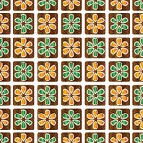 Decorative vector brown and green abstract floral background - square pattern Royalty Free Stock Photos