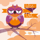 Decorative vector composition with owl. Wise owl sitting upon a tree branch on abstract background Stock Images