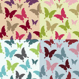 Decorative vector doodle butterfly seamless pattern set Stock Photo