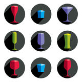 Decorative vector drinking glasses collection.. Set of celebration goblets, simple glassware, can be used in graphic and web design Stock Image