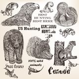 Decorative vector elements and animals for hunting design Royalty Free Stock Photo
