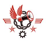Decorative vector emblem composed with winged loudspeaker and ch Stock Photography