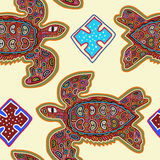 Decorative Vector Ethnic Seamless Pattern in Mola Art Form of Kuna Indians. Ethno. Mola Style.  Royalty Free Stock Photo