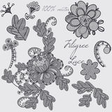 Decorative vector filigree lace design in blue color. Set of ele Royalty Free Stock Images