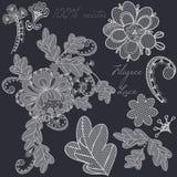 Decorative vector filigree lace design in white color. Set of el Stock Photo