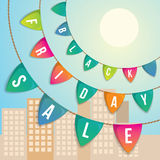 Decorative vector flags advertising flags. Black Friday is the Friday following Thanksgiving Day in the United States. Web banner Stock Photo