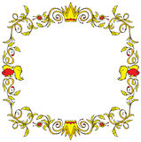 Decorative vector frame. A yellow decorative frame with red highlights, foliage and fish Royalty Free Stock Photos