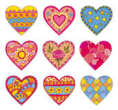 Decorative vector hearts Stock Images