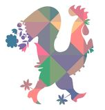 Decorative vector illustration of colorful rooster. Chinese symbol of 2017 year Royalty Free Stock Photos