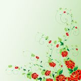 Decorative vector ornament. Red flowers on green background Stock Photos