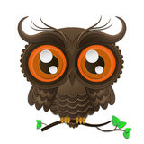 Decorative Vector Owl. Isolated owl on a tree branch vector illustration high quality royalty free illustration