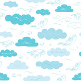 Decorative vector seamless pattern with clouds and winds. Decorative vector seamless pattern with hand drawn cute clouds and winds for textile design. Weather Royalty Free Stock Photo