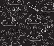 Decorative vector seamless pattern with coffee cups and handwritten words coffee. Endless food and drink texture Royalty Free Stock Photo