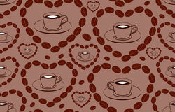 Decorative vector seamless pattern with coffee cups and hearts made of coffee beans Royalty Free Stock Photo