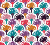 Decorative vector seamless pattern with palm trees. Stock Photo