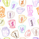 Decorative vector similar pattern with illustration of cups, mugs and glasses and handwritten brush lettering. Royalty Free Stock Photos