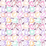 Decorative vector similar pattern with illustration of cups, mugs and glasses and handwritten brush lettering. Royalty Free Stock Image