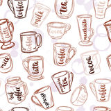 Decorative vector similar pattern with illustration of cups, mugs and glasses and handwritten brush lettering. Royalty Free Stock Photo
