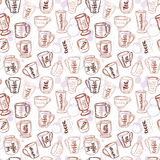 Decorative vector similar pattern with illustration of cups, mugs and glasses and handwritten brush lettering. Stock Images