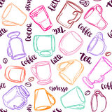 Decorative vector similar pattern with illustration of cups, mugs and glasses and handwritten brush lettering. Stock Photo
