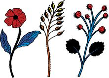 Decorative simple twigs and flowers color royalty free illustration
