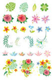 Decorative vegetation in vector. Set of decorative tropical vegetation in vector Stock Images
