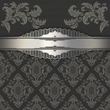 Decorative background with vintage patterns and silver border. Decorative vintage background with elegant silver border and patterns Stock Image
