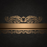 Decorative vintage background with gold floral border. Royalty Free Stock Images